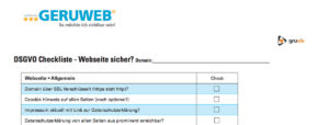 DSGVO die Website Checkliste