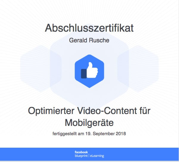 Facebook Blueprint Zertifizierung Video-Content