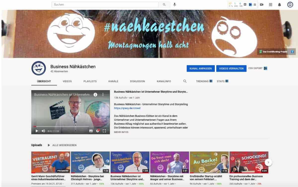 Business Nähkästchen YouTube Kanal